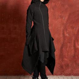Kadın Ceket Rüzgarlık Orta Uzun Bölüm Katı Renk Büyük Boy Gevşek Slim Fit Ceket Cep Asimetrik Kapşonlu Ceket Tops cheap large fit nereden büyük uyum tedarikçiler