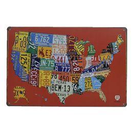 stagno stampato all'ingrosso Sconti 20x30cm Targhe auto colorate Stati Uniti Mappa Targhe in metallo Poster in metallo vintage Bar Pub Parete decorativa Plaqueli