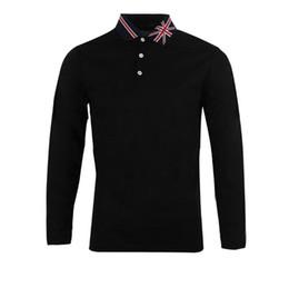 2019 британское поло New British Style Three Buckle POLO Shirt Creative Flag Lapel Fashion Simple Business Casual Long-Sleeved T-Shirt скидка британское поло