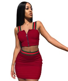 97456e3eac S-3XL Summer Women Striped Patchwork Zip Halter Tank Top + Mini Dress 2  piece Set Sling Vest + Short Bodycon Skirt Outfit Club Wear