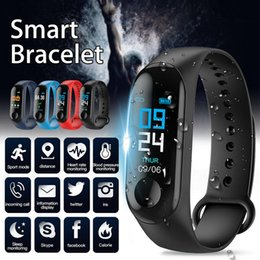window m3 Promo Codes - M3 Smart Band Bracelet Color Screen Fitness Tracker Pedometer Heart Rate Blood Pressure Monitor Sport M3 Plus Bands Wristband High Quality
