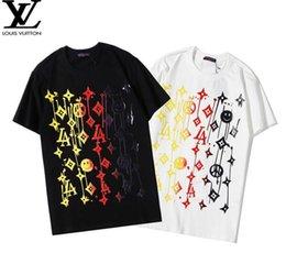2019 lg he4 baterias Carta geométrica 2020ss monograma Impresso Moda T-shirt do verão respirável Tee Casual Simples Homens Mulheres Rua manga curta V544