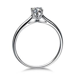 Canada Certificat d'argent de bijoux ZHF! Vente chaude Real 925 Sterling Silver Ring Bijoux 0.5 Ct CZ Diamant Anneaux De Mariage Pour Les Femmes Offre