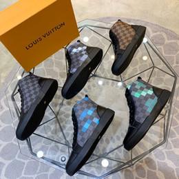 2020 zapatos casuales para hombre Louis Vuitton Shoes LV hombre de alta top zapatos botas, zapatos casuales para hombre suela de goma Ace top zapatos velocidad Formadores luz del Alto-top zapatos de los hombres rebajas zapatos casuales para hombre