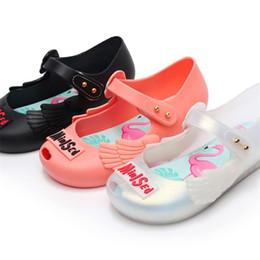 2019 mini cygne Licorne Doodling Chaussures Pour Enfants Flamingo Impression Melissa Swan Parfumé Gelée Sandales Mini Sed Bout Toe Cap Trou Non Slip 23mib1 mini cygne pas cher