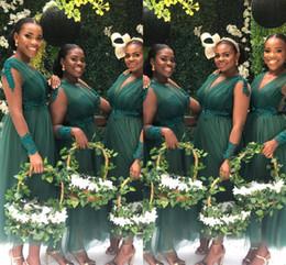 Vestidos de dama de honor hasta el tobillo de tul online-Sudáfrica barato verde oscuro vestidos de dama de manga larga con cuello en v longitud del tobillo Faja de tul vestido de dama de honor BM0618