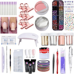 Kit cola uv on-line-Jelly Poly Gel Kit 5W UV unhas lâmpada rápido Builder Gel Nail Art Poly Gel Fiberglass Silk conjunto de extensão Glue Kit Escova Ferramentas Unhas