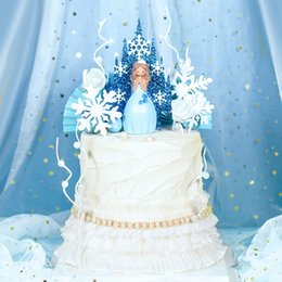 princess party theme decorations Coupons - Blue Princess Snowfake Castle Acrylic Cake Topper Snow Queen Princess Theme Happy Birthay Cake Decoration Party Supplies