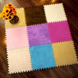 eva puzzle matten Rabatt 25X25 cm Bunte Baby Matte Spiel Spieldecke EVA-schaum Mit Plüsch Oberfläche Weichen Plüsch Teppich Puzzle Matte Weiche Baby Play