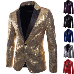 2019 esmoquin negro solo botón Shiny Gold Sequin Glitter Chaqueta Blazer Adornada Hombres Discoteca Traje Prom Chaqueta Blazer Hombres Traje Homme Escenario Ropa Para cantantes