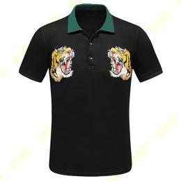 t shirt col pour homme vert Promotion vêtements de marque pour hommes vêtements pour hommes polo broderie tigre col vert patchwork t-shirt au col