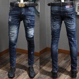 2019 super gerippte jeans 2019 New Dark Super Patch Knie Skater Jeans Riss Stitching Detail Skinny Fitness Cowboy Hosen Männer günstig super gerippte jeans