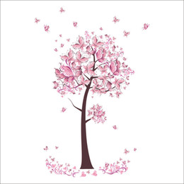 Murale rosa albero online-Adesivi murali Decorazioni murali per la casa Fiori rosa farfalle Albero per camerette Decorazione camera da letto Poster fai da te Adesivi murali carta da parati