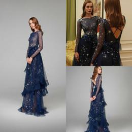 4d5874d5d5e 2019 Paolo Sebastian Evening Dresses A Line Star Floor Length Backless Long  Sleeve Prom Dress Custom Dark Blue Elegant Formal Party Gowns