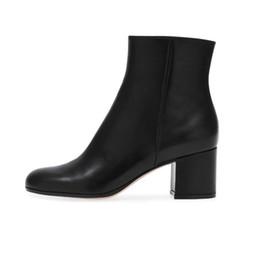 Botas de otoño baratas online-Zapatos Mujer Tacones 2018 Primavera Otoño Mujer Botines Parte de las mujeres Western Round Toe Side Zipper Boots Plus Size 35-43 Precio barato