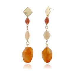 2019 diamante ámbar Fashion Love Designer East Gate Hit Color Second Gram Force Pendientes Geometry Long Fund Amber Diamond Eardrop Earring Pendientes para mujeres rebajas diamante ámbar