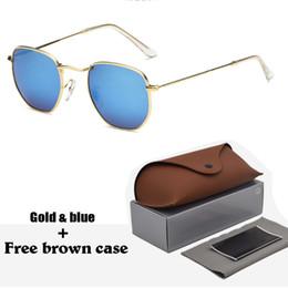 Scatole esagonali online-1 pz classico occhiali da sole retrò uomo donna esagono occhiali da sole in metallo telaio occhiali occhiali oculos de sol gafas con custodie e scatola marrone