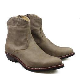 Marcas de botas pontudas para homens on-line-NOVAS Botas de Cowboy Clássico 100% Marca New Handmade Botas Homens Apontou 3.5 cm de Couro de Couro Genuíno Dos Homens Ankle Boots Botas de Salto Dos Homens Botas