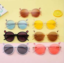 Kinder cartoon gläser rahmen online-Baby Mode großen Rahmen Cartoon Katzenauge Kind Sonnenbrille Kind Metall Sonnenbrille Junge Mädchen Brille Anti-UV400