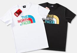 Camisetas coloridas por atacado on-line-Homens de alta Qualidade mulheres preto e branco T-shirt Rosto de Manga curta O-pescoço Tee Kanye West Colorido Logotipo Carta de Impressão Sportwear atacado