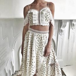 Donne top spaghetti online-2019 New Summer Polka Dot Women Strap Hollow Out Short Sexy Tops + Vita alta Irregular Long Skirt Two Piece Set