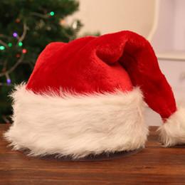 Peluş Kırmızı Santa Hat Noel Cap Kalın Kış Sıcak Peluş Noel Baba Şapka Noel Yetişkinler Noel süslemeleri Şapkalar T2I5573 nereden saç tokmak şeritleri tedarikçiler