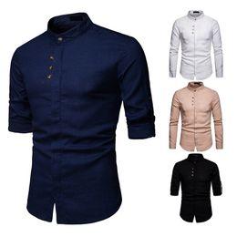 Черная рубашка с длинным рукавом онлайн- Casual Shirts Long Sleeve 2019 Fashion Korean Mandarin Collar Men Linen Shirt Solid Button Decorate Men Clothing Black