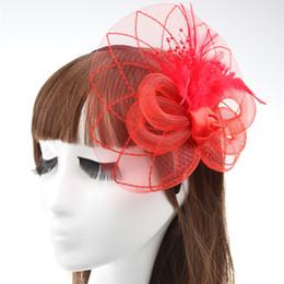 Velos de organza online-Frente de novia Piezas de boda Sombreros Tocado Novia Accesorios para el cabello flor del casco de la pluma de Fascinator venda de la flor del velo del organza