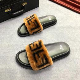 Nouvelle glissière en cuir et peau de mouton marron 8X6638A3SMF13N9 Créateurs de luxe pour femmes Diapositives Laine - Semelle en caoutchouc Sandales Femmes Chaussures ? partir de fabricateur
