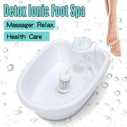 Íon limpa a máquina do pé do detox on-line-Anion Íon elétrico Detox Foot Bath Machine Tub Balde Aquecimento Ionic Cell Cleanse Spa Máquina Instrumento de Cuidados de Saúde Conjunto SH190727