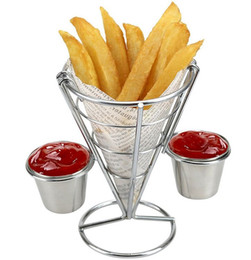 Овощные трибуны онлайн-Держатель для картофеля фри с подставкой для двойного соуса Держатель для картофеля фри с конусом