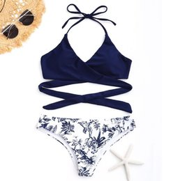 Elástico livre swimsuits on-line-Hot !2019 new double-sided straps sexy bikini ladies print split swimsuit high elastic backless free shipping