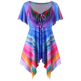 98a9fd656ecf04 plus empire waist tops 2019 - Wipalo Plus Size Rainbow Empire Waist T-Shirt  Women