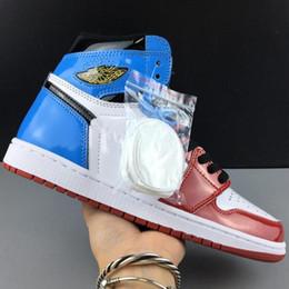 женские синие лакированные кожаные туфли Скидка 2019 Нью-1S Бесстрашный High Баскетбольная обувь 1 Синий Красный Белый лаковая кожа Баскетбол обувь Running кроссовки женщин Mens Дизайнерские тренеров фр