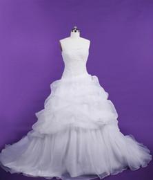 Branco Organza Strapless e sem mangas vestidos de casamento Arranjo da flor com grânulos Backless Querida Sexy em camadas vestido de baile Vestido de Noiva de