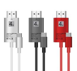 hdmi usb c Rabatt 2M USB 3.1 Typ C zu HDMI Kabel USB-C 4K HDTV Adapterkabel für Samsung S8 Plus S8 + HDMI Kabel