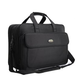 Valigetta per laptop da 17 pollici online-Borsa da uomo in pelle nera da 17 pollici Borsa da uomo in pelle nera da uomo con tracolla regolabile