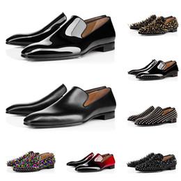 Zapatos mate online-christian louboutin Nuevos mocasines diseñador de los hombres de lujo vestido de los zapatos zapatillas de deporte del pico de cuero para los fondos planos de la boda de negocios