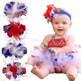 bandeau de plumes Promotion 4 juillet drapeau américain bandeau de designer Barrettes enfants plume bandeaux serre-tête pince à cheveux nouvelle mode Headwear enfants Accessoires pour cheveux C6546