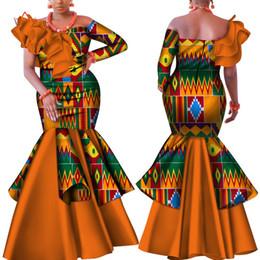 abiti tradizionali africani Sconti Danshiki Africa Vestito per le donne Bazin Riche one-spalla Sexy Slash Neck Wedding Party Dress tradizionale abbigliamento africano WY4224