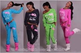 Canada 2019 printemps hiver femmes dames Hello Kitty imprimé survêtement à manches longues ensemble maison pullover définit des vêtements pantalons doux + tops Offre
