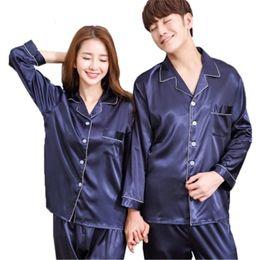 Pantaloni in raso di mens online-Nuovo lussuoso set di pigiami in raso di seta coppia pantaloni a maniche lunghe pigiami da donna set di pigiami di seta da uomo taglie forti 3XL T190908