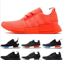 5ba9a490b Original Hot Sale NMD Runner 1 Primeknit 2017 Discount White Red Blue  Basketball Shoes Cheap Men Woman NMDS Running Shoes Size 36-45 nmds shoes  red outlet