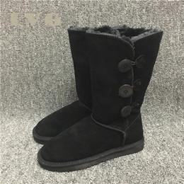 2019 высокие ботинки кнопки дизайнерские ботинки женщин снегоступы 3-кнопочный классический стиль корова замша кожа водонепроницаемый зима колено длинные сапоги бренд Ivg дешево высокие ботинки кнопки