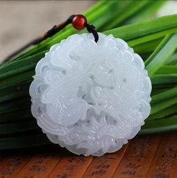 2019 afghanistan jade Natürliche weiße Jade Dragon und Phoenix Anhänger Afghanistan Jade Anhänger Halskette Männer und Frauen Zodiac günstig afghanistan jade