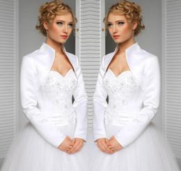 Невесты обертывания куртки онлайн-реальный на заказ размер и цвет свадебный пиджак с длинными рукавами атласные аксессуары для невесты свадебное болеро / плечи / обертывания / швал