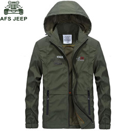 Afs Jeep Mens Spring Autumn Jacket 2018 Casual Hooded Collar Thin Mens Bomber Giacche Tasche con cerniera Plus Size M 3XL veste
