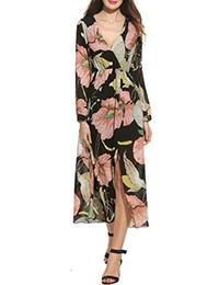 5f11ded9e5 Zeagoo Women Floral Chiffon Deep V-Neck Long Sleeve Slit Wrap Long Maxi  Beach Dress