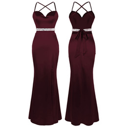 Laço vermelho do vinho on-line-Angel-moda feminina Cut Out Beading Cristal Bow Tie Spaghetti Strap Dividir Longo vestido de baile Evening Wine Red Dress 438