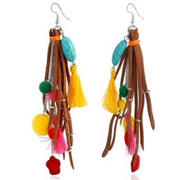 orecchini turchesi fatti a mano Sconti Boemia Handmade turchese palla di pelo Fiore nappa orecchini nappe multistrato lungo ciondola gli orecchini Moda gioielli femminili
